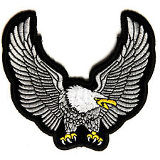 Embroidered Silver Upwing Eagle Sew or Iron on Patch Biker Patch