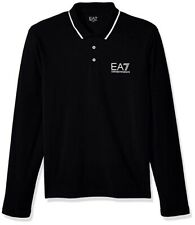 EMPORIO ARMANI EA7 Man's Black Long Sleeve Cotton Polo Shirt Size Medium NWT