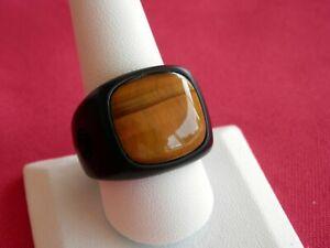 David Yurman Men's Black Titanium Tiger's Eye Stone Signet Ring Size 11