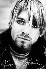 Kurt Cobain Portrait and Signature Music Print Nirvana, 24x36