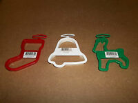 3 NEW WILTON CHRISTMAS COOKIE CUTTERS REINDEER BELL STOCKING PLASTIC RED GREEN