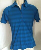 Womens Elevate Short Sleeve  Polo Shirt Size M Royal Blue UV Protection  Striped