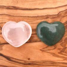 Rose Quartz Heart and Green Aventurine Heart Gift Set 25mm Love Healing Chakra