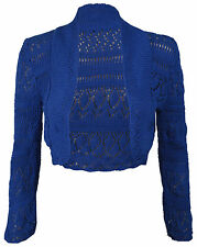 Womens Long Sleeve Crochet Bolero Shrug Plain Cropped Knitted Open Cardigan Top