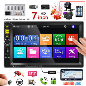 """7"""" Double 2 DIN Bluetooth Car Radio Stereo FM AUX MP5 Player Touch Screen + Cam"""