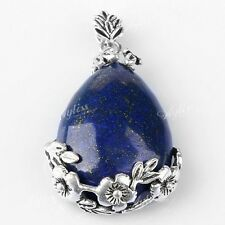 1Stk. Damen Träne Lapis Lazuli Stein Perle Anhänger Blume Stil Inlaid 38x26x9MM