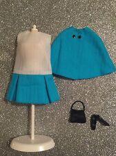 BARBIE OOAK MOD INSPIRED BLUE & WHITE DRESS*CAPE*PURSE*FLAT SHOES