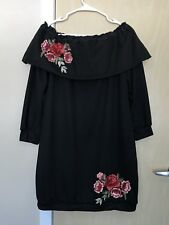 New Sexy Off Shoulders Flowers Black Banded Dress Size XL $98