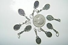 """Lot of 8 Tennis Racket Charms +RINGS Badminton Racquet Ball Silver 1"""" Lot 8 NEW!"""