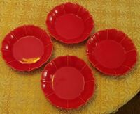 "Set of 4 Loucarte 8"" Salad Plate/ Shallow bowl Made in Portugal  Red"