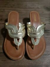 GUESS Wedge Platform Sandals Shoes Size 9.5 M Gold Glitter