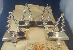 Pottery Barn Outlet Silver toned Christmas Tree Stocking Holders (Set of 4)