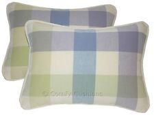 "Pair 15""x11"" Laura Ashley 'Mitford Check' Lavender/Delphinium Piped Cushions"