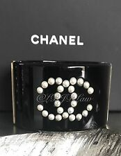 NWT CHANEL 2016 CC CUFF Bubble Pearl Dots Row Black Resin Gold Classic Bracelet