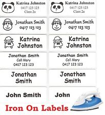 36 White Iron On Personalised Name Clothing Labels - Large (47*15mm)