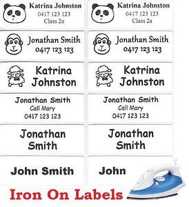 16 White Iron On Personalised Name Clothing Labels - Large (47*15mm)