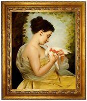 Ölbild, Mädchen mit Taube,Charles Chaplin, Ölgemälde HANDGEMALT,Gemälde 50x60cm