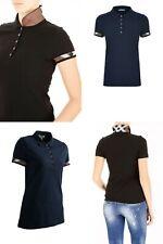 Burberry women's black,navy check trim stretch pique polo shirt xs,s,m,l,xl