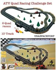 Kids Quad ATV Challenger Battery Power ROAD RACING SET 10' Race Track+2 Slot Car