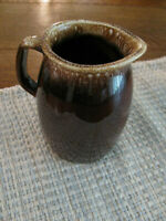"Vintage HULL Oven Proof Pottery Brown Drip Glaze Water Jug Pitcher 6-3/4"" USA"