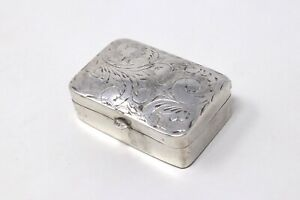 A Superb Vintage Sterling Silver 925 Patterned Designed Lid Pill Box #32726