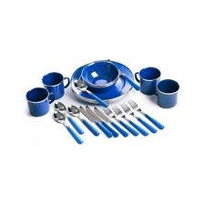 Camping Plate Set 24pc Picnic Dishes Portable Cooking Bowls Outdoor Silverware