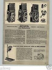 1956 PAPER AD Rolleiflex Rolleicord Twin Lens Reflex Camera Automat