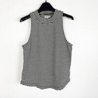 Madewell Women's Black White Striped Mockneck Shirttail Tank Top Size Medium