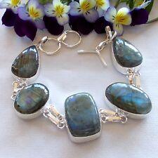 Tibetan silver bracelet with labradorite stone 33 gms (1184/R)
