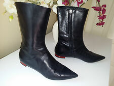 VICINI Tapeet Black Soft Genuine Leather Flat Boots Sz.38,5 (US 7,5 M) Italy