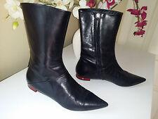 VICINI Tapeet Black Soft Genuine Leather Flat Boots Sz.38,5 (US 7,5 M) Italy