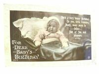 Antique real photograph postcard Birthday Card cute Baby in a pram