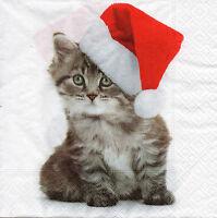 4 Motivservietten Servietten Napkins Tovaglioli Weihnachten Katze (943) Basteln