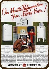 1935 GENERAL ELECTRIC MONITOR TOP Refrigerator Vintage Look DECORATIVE METAL SIG