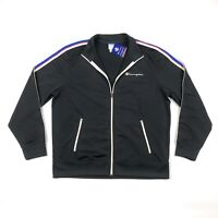 Champion Mens XL Full Zip Black Striped Sleeves Logo Track Jacket