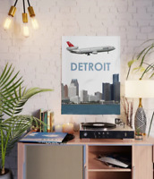 "Northwest Airlines DC-10 over Detroit Art - 18"" x 24"" Poster"