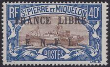 SAINT PIERRE ET MIQUELON N°237* TB Bateau France Libre 1941 SPM fishing boat MLH