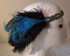 1920's Style Head Flapper Turquoise & Black Headband Peacock Feathers Weddings