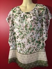 DANIEL RAINN Women's Green/White Floral Sheer Batwing Blouse - Size Small - NWT