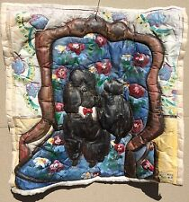 Quilted, Hand Painted Poodle Dog Pillow Cover by Suzanne Etienne