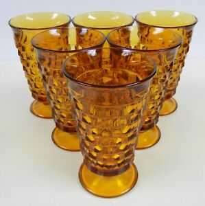 """Vtg INDIANA Amber GLASS Whitehall Cubist 6"""" Tall FOOTED GLASSES Coolers SET of 6"""