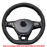 Car Steering Wheel Cover D Type Cow Leather for Subaru WRX / WRX STI 2015- 2019
