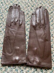 Vintage Ladies Brown Kid Leather Gloves By Superb Size 6.5 - Never Worn