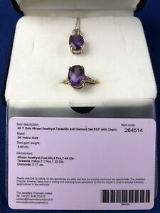 9ct gold amethyst tanzanite and diamond set Ring And Necklace Size P