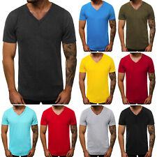 T-Shirt Kurzarm Unifarben V-Neck Slim Fit Casual Basic Herren OZONEE O/1211