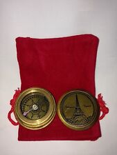 Mini Antique Patina Finish Eiffel Paris Pocket Compass  With Red Pouch - Gift