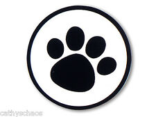 Animal Black Paws on 100 CLEAR SEALS Round Cello LABELS Stamps Cat Dog Paw Print