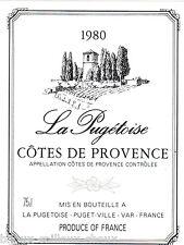 étiquette vin COTES DE PROVENCE La Pugétoise 1980 wine label