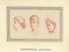 ANTIQUE VICTORIAN WOMAN PORTRAIT PROFESSIONAL MODEL BEAUTIES BEAUTY OLD PRINT