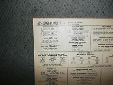 1965 Dodge Plymouth Series 318 CI V8 2BBL SUN Tune Up Chart Excellent Condition!
